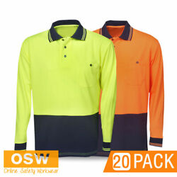 20 X Hi Vis Light Weight Mens Cool Dry Breathable Long Sleeve Work Polo Shirts