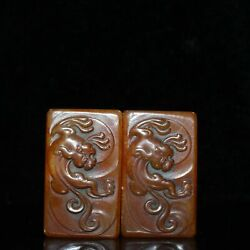 1.9 Pair Asian Collections Chinese Old Antique Shoushan Stone Beast Seal