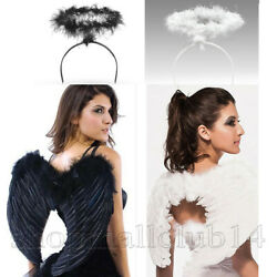 Feather Angel Wings and Halo Halloween Xmas for Kids Costumes Fancy Cosplay Lot