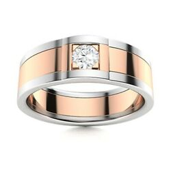 Certified Natural Diamond Mens Wedding Ring Two-tone 14k White Gold Size 12