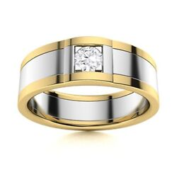 Certified Natural Diamond Mens Wedding Ring Two-tone 14k Yellow Gold Size 12