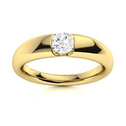 Certified 0.35 Ctw Diamond Mens Solitaire Band Ring 14k Yellow Gold Sz 10.5