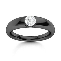 Certified 0.35 Ctw Diamond Mens Solitaire Band Ring 14k Black Gold Sz 10.5
