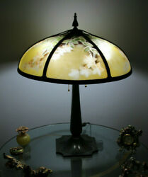 Antique Arts And Crafts Bradley And Hubbard Slag Glass Reverse Painted Lamp, C1920