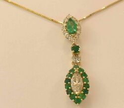 Ladies 14k Yellow Gold Diamond Emerald Necklace New With Tags