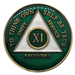 11 Year Aa Anniversary Coin Green Alcoholics Anonymous Chip Sobriety Medallion