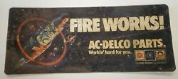 Vintage Spark Plug Advertising Sign 1-sided Ac Delco Fire Works Oil Gas Parts