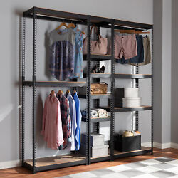 Gavin Metal Closet Storage Rack Organizer W/ 10 Adjustable Shelves Hanging Rods