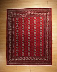 8x10 Fine Bokhara Geometric Allover-pattern Handmade-knotted Wool Rug 585894