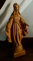 Wood Carved Our Lady Of Grace Large Statue. West German 17 1/2 New Lower Price
