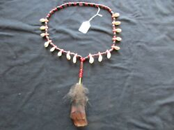 Vintage Native American Necklace, Trade Beads And Buffalo Teeth, Ott-092004922