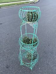 Vintage Stacked Wrought Iron Metal Basket Tall Plant Stand