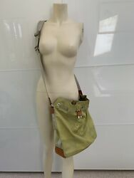 Louis Vuitton Crossbody Vintage Lime Green Canvas And Leather And Small Pouch