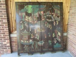 Antique Chinese Coromandel 4 Panel 6 Foot High Screen With Brass Feet