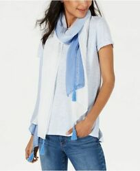 INC International Concepts ombre tassel ultra soft women#x27;s scarf wrap BLUE $12.00