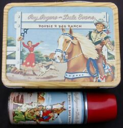 Vintage Roy Rogers Lunchbox And Thermos - Cowboy Tv Western 1954 C-8.5