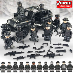 Military SWAT Lego Black Jeep Teams Figure Set City Police Weapon Block