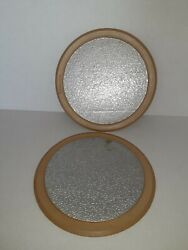 Vintage Set Of 2 Rubbermaid 8 Round Trivet Hot Pads Mats 3359 Brown Silver