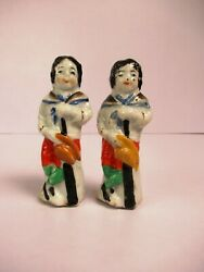 Antique Porcelain Figurines Japanese Hunter Boy With Gun And Hat 2 Pc Lot Oldf9