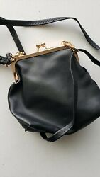 Vintage Clutch Black Purse w Gold Kiss Lock Faux leather $19.99