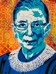 Ruth Bader Ginsburg 8x10 Inch Art Print Signed by Artist RBG Women#x27;s Rights