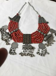 Antique Yemeni Necklace Silver And Coral Bedouin Jewish Handmade 318 Gram