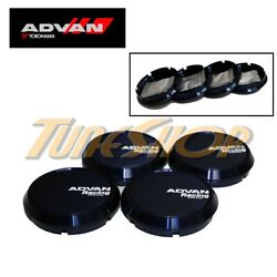 4 Advan Blue Flat Type 73mm Wheels Center Caps Rz-df Rg-d Rs-d Rg-ii Rc-iii Tc3
