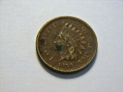 1859 Vf Copper Nickel Indian Head Cent, Nice Vintage Coin For A Collection