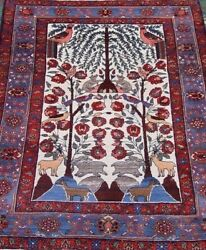 Antique Tribal Tree Of Life Hand Knotted Wool Animals Birds Oriental Rug 4.4 X 6