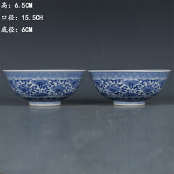 6.1 Pair Antique Old China Porcelain Blue White Lotus Bowl Asian Collections
