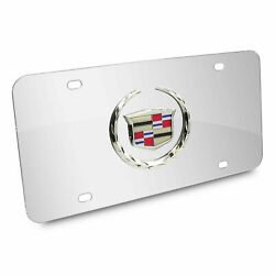 3d Cadillac Logo Mirror Chrome Stainless Steel Front License Plate + Caps