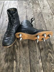 Vintage Antique Black Leather Football Cleats High Top Boots 7.5 E Old Nr Mint