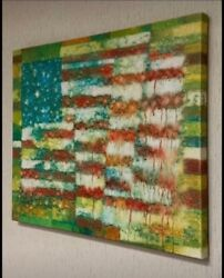"""""""many Colors, One Flag"""" American Flag Painting Canvas Wall Art Extremely Rare"""