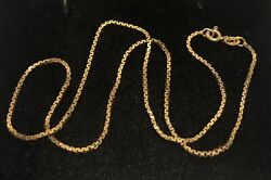 Vintage Ar57 Italy 14k Solid Yellow Gold Andldquobox Chainandrdquo Necklace 15andrdquo-3.8 Grams