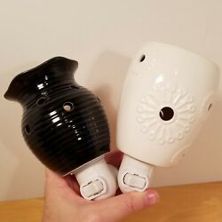 Scentsy Warmer Plug In Lot 2 Groovy Black Dandy White Night Light Retired Wall