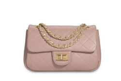 Calfskin Crossbody Bags for Women Leather Quilted Shoulder Bag Handbags Pink $35.00