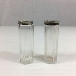 Antique 1907 Levi And Salaman Solid Silver Topped Pair Of Dressing Table Jars