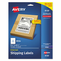 Avery Shipping Labels W/ultrahold And Trueblock Inkjet 5 1/2 X 8 1/2 White 50/pack