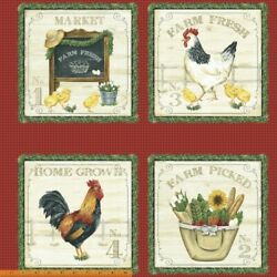 24quot; X 44quot; Panel Farm Farmers Chickens Eggs Red Cotton Fabric D488.30