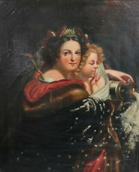 L. Popplein Continental Oil Painting On Canvas Portait Of Two Women 19th C