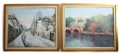 Pair Of Rojas 20th Century Oil Paintings On Canvas, French Cityscapes