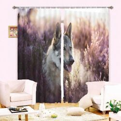 Wolf Dog Gray Reed 3d Curtain Blockout Photo Printing Curtains Drape Fabric