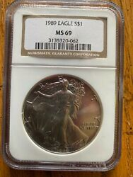 1989 American Silver Eagle Ms 69 Ngc Standard Brown Label