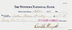 Orville Wright Signed 1917 Check To Machinist Who Helped Build His 1903 Engine