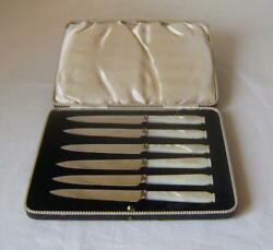 Boxed Set Six Pearl Handled Stainless Steel Fruit Knives Cbands Ltd Sheffield