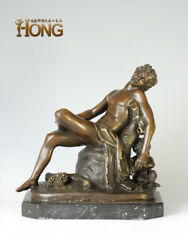 12and039and039 Art Deco Sculpture God Of Agriculture Man In Drunk Fauns Boy Bronze Statue