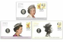 Australia 2016 Queen Elizabeth Ii 90th Birthday Stamp And Coin Cover Pnc Set Of 3
