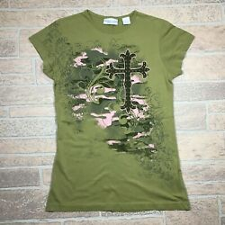 Wrangler Blues Cross Women#x27;s Small Green Cotton Graphic Top $5.99