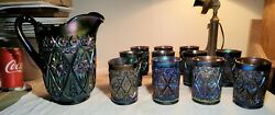 Vintage Diamond Lace Imperial Electric Amethyst Carnival Glass Pitcher And 11 Cups