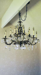 Vintage 16-light Oiled Brass And Leaded Crystal Chandelier